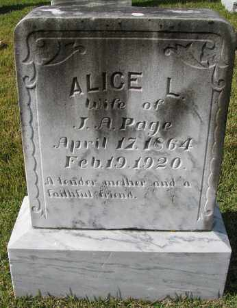 PAGE, ALICE L - Caswell County, North Carolina | ALICE L PAGE - North Carolina Gravestone Photos
