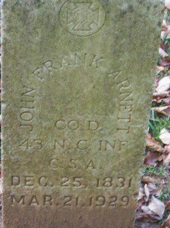 ARNETT (VETERAN CSA), JOHN FRANK - Cumberland County, North Carolina | JOHN FRANK ARNETT (VETERAN CSA) - North Carolina Gravestone Photos