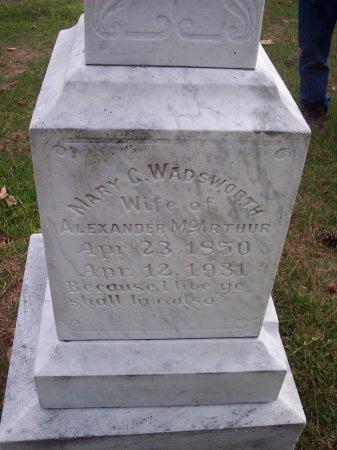 WADSWORTH MCARTHUR, MARY C. - Cumberland County, North Carolina | MARY C. WADSWORTH MCARTHUR - North Carolina Gravestone Photos