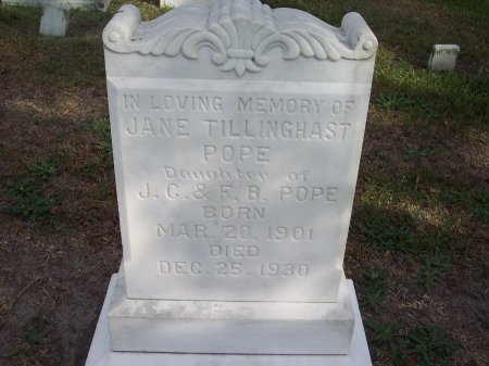 TILLINGHAST POPE, JANE - Cumberland County, North Carolina | JANE TILLINGHAST POPE - North Carolina Gravestone Photos