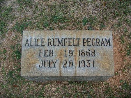 RUMFELT PEGRAM, ALICE - Mecklenburg County, North Carolina | ALICE RUMFELT PEGRAM - North Carolina Gravestone Photos