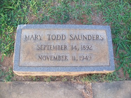 TODD SAUNDERS, MARY - Mecklenburg County, North Carolina | MARY TODD SAUNDERS - North Carolina Gravestone Photos