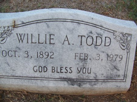 TODD, WILLIE A. - Mecklenburg County, North Carolina | WILLIE A. TODD - North Carolina Gravestone Photos